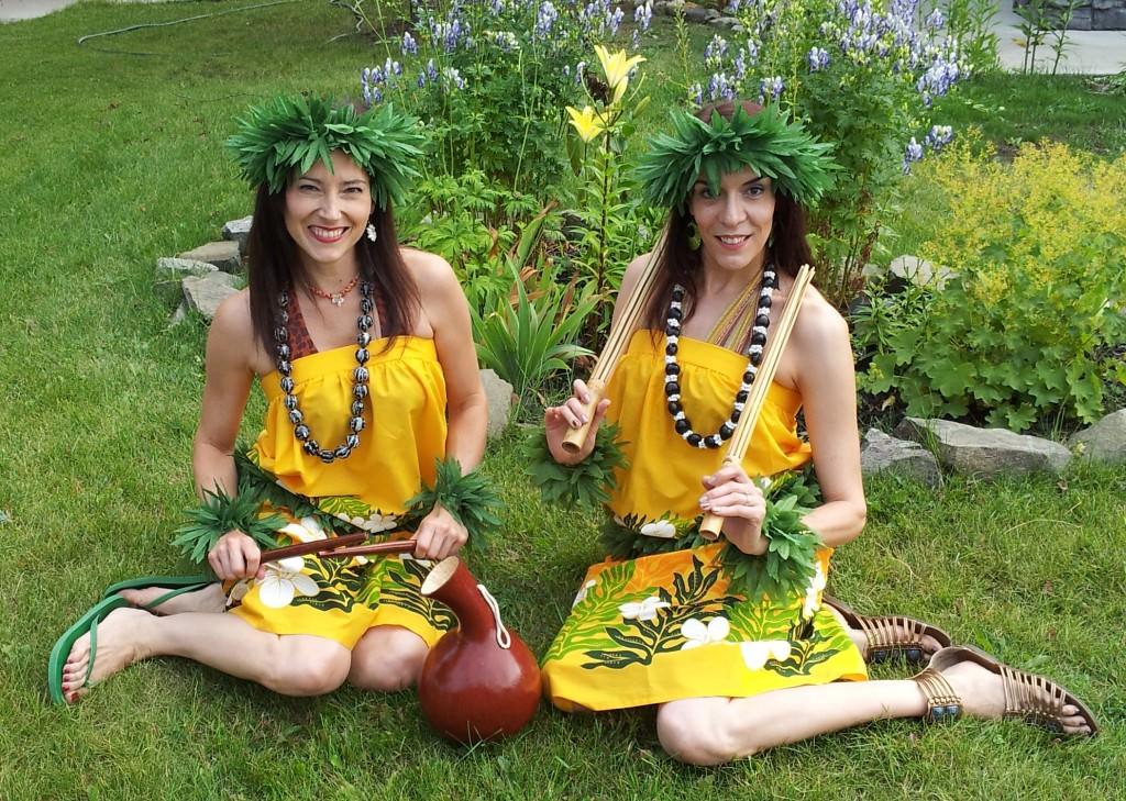 Polynesian Dancers in Hawaiian Costumes with Hawaiian Implements in Calgary